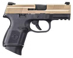 "FN HERSTAL FNS-9C 9mm 3.6"" Black/FDE 12+1 Fixed 3-Dot Sights - 66100230"