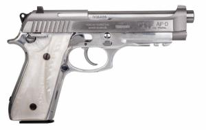 "Taurus - PT92, 9mm, 5"" Barrel, Fixed Sights, Stainless, White Pearl Grips, 2 17-rd Mags - 192015917PRL"