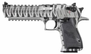"Magnum Research - Desert Eagle Mark XIX, 44Mag, 6"", Fixed Sgts, SS/White Tiger Stripe, Int Muzzle Brake, 8-rd - DE44WTS"
