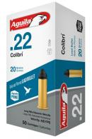 AGUILA AMMO .22LR COLIBRI Cylinder Bore 420FPS. 20GR. LEAD RN 50-PACK