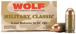 Wolf 9MM X 18MM Makarov 95 Grain Full Metal Jacket - CASE - MC918FMJ