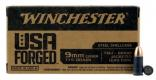 Winchester Ammo WIN9SV USA Forged 9mm 115 GR Full Metal Jacket 50 Bx/ 10
