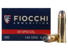 Fiocchi .38 Spc 148 Grain Jacketed Hollow Point