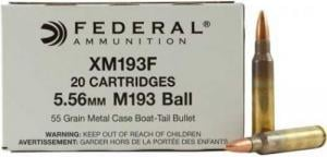 Federal 5.56 Remington 55 Grain Metal Case Boat-Tail, 20 rds - XM193F