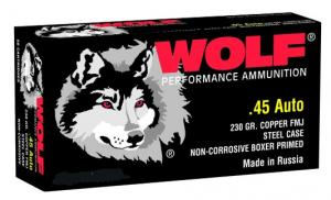 Wolf 45 ACP 230 Grain Full Metal Jacket 500 Rnds (10 Boxes) - 45FMJ