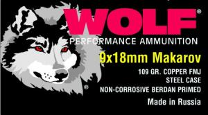 Wolf 9 MM X 18 MM Makarov 100 Grain Full Metal Jacket