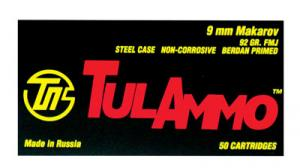 Tulammo TULAMMO 9mmX18mm Makarov Full Metal Jacket 92 GR 50