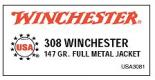 Winchester 308 Winchester 147 Grain Full Metal Jacket Boat-T - USA3801