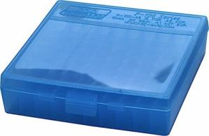 P-100 Fliptop Box .45 ACP/10mm/.40 S&W/.41 AE Clear Blue - P-100-45-24