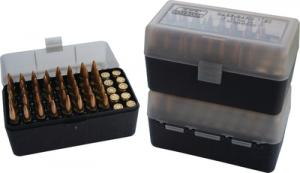 Case-Gard 50 Rifle Ammo Boxes .22-250 to .308 Clear Green/Black - RM-50-16T