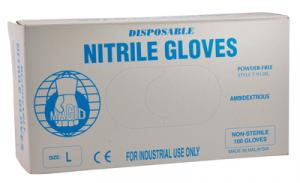 Disposable Blue Nitrile Gloves Size Large 100 Per Dispenser Box
