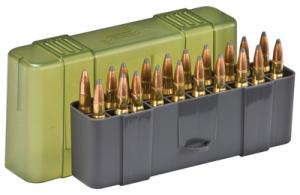 Slip Top Large Rifle Ammo Case 20 Round Gray/Green - 123020