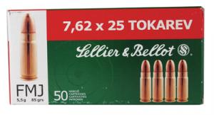 Handgun Ammunition 7.62x25 Tokarev 85 Grain Full Metal Jacket - SB762TOK