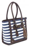 Tote Style Purse With Holster Navy Stripe With Brown Trim and Handles