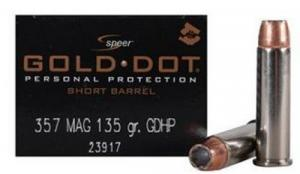 SPEER AMMO 357MAG +P 135 GR SHORT BARREL GOLD DOT