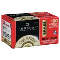FED CHAMPION BRASS CASE 9MM 115GR FMJ 100/5