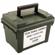 Ten Ring Ammo Can 9mm 115gr FMJ 400/Can (400 rounds per box) - TR9115FMJ400