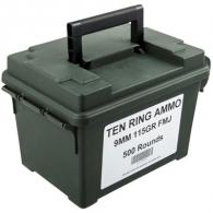 Ten Ring Ammo Can 9mm 115gr FMJ 500/Can (500 rounds per box) - TR9115FMJ500