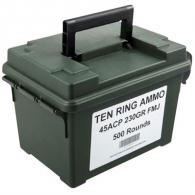 Ten Ring Ammo Can 45 ACP 230gr FMJ 500/Can (500 rounds per box) - TR45230FMJ500