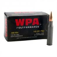 WOLF AMMO .308WIN 145GR FMJ 20RD/BX