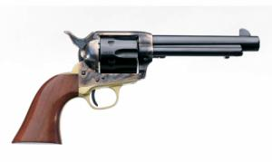 "A. Uberti Firearms 1873 Cattleman II Brass Revolver U356210, 357 Magnum, 5.5"", One Piece Walnut Stock, Blued Finish - 356210"