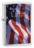 Zippo Made In Usa Flag Brushed Chrome 24797 - 24797
