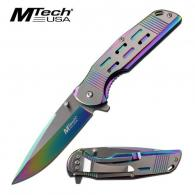 MTech USA Assisted 3.5 in Blade Rainbow Stainless Handle - MT-A1019RB