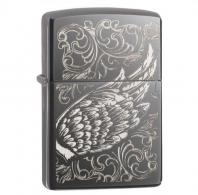 Zippo Black Ice Filigree Flame and Wing Design Lighter - 29881