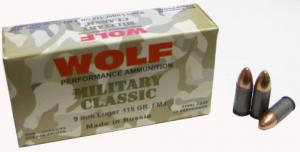 Wolf Military 9mm Full Metal Jacket 115 GR 1150 fps 500 Round