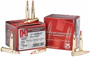 Hornady Superformance 17 Hornet V-Max 20 GR 3650 fps 25Rds