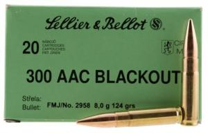 Sellier & Bellot .300 Black  Blackout 124gr FMJ 20ct Box - SB300BLKA
