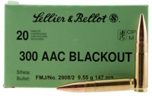 Sellier & Bellot 300BlackB Rifle .300 Black 147 GR Full Metal Jacket 20 Bx/ - 300BLKB