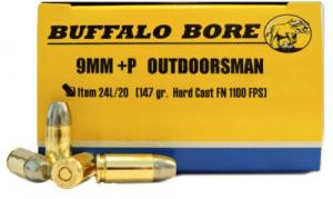 Buffalo Bore Ammunition 24L/20 Outdoorsman 9mm+P 147 GR Hard Cast Flat N - 24L/20