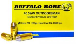 Buffalo Bore Ammunition 23F/20 Outdoorsman 40 S&W 200 GR Hard Cast Flat Nose 20 - 23F/20