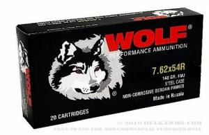Wolf Polyformance 7.62mmX54mm Russian Full Metal Jacket 148