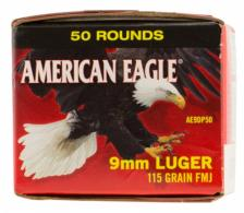 Federal AE9D950 American Eagle 9mm Luger 115 GR Full Metal Jacket 50 Bx/ 10 Cs