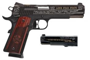 "Sig Sauer 191145TXG 1911 Texas Engraved Gold SAO .45 ACP 5"" 8+1 Night Sights Redwood Grip Black - 191145TXG"