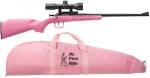 "Crickett 220BSC Single Shot 22LR w/Scope&Case Bolt 16.1"" 1 Syn Pink Stk Blued - 220BSC"
