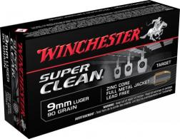 Winchester Ammo W9MMLF Super Clean 9mm 90 GR Full Metal Jacket 50 Bx/ 10