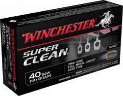 Winchester Ammo W40SWLF Super Clean 40 Smith & Wesson 120 GR Full Metal Jacket - W40SWLF
