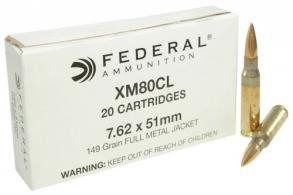 Federal XM80CL XM 308 Winchester/7.62 NATO 149 GR Full Metal Jacket 20 Bx/ 25 C - XM80CL
