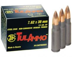 Tulammo UL076211 Centerfire Rifle 7.62X39mm 124 GR Hollow Point 40 Bx/ 25 Cs