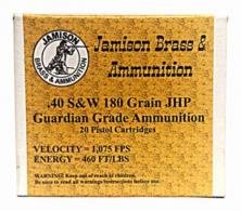 Jamison 40SW180GRD Guardian Grade 40 Smith & Wesson 180 GR Jacketed Hollow Poin