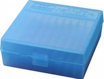 P-100 Fliptop Box .41-.44 Magnum/.45 Auto Clear Blue