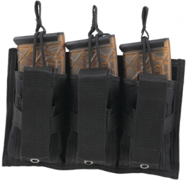 Tri-Double MOLLE Mag Pouch Holds Three 30 Round Carbine 5.56/.223 Magazines Black